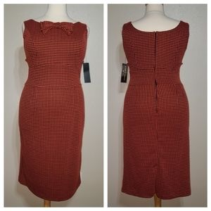 STOP STARING! Houndstooth Sleeveless Fitted Dress